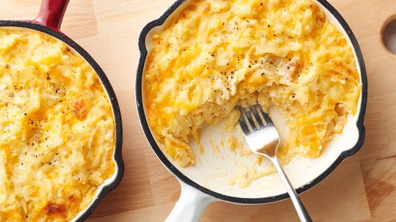 Hashbrown casserole in skillet