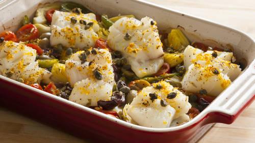 One Pan Mediterranean Roasted Fish Dinner Recipe