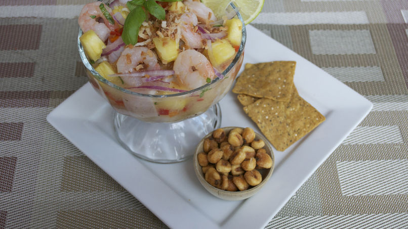 Shrimp and Fish Ceviche with Pineapple, Basil and Coconut