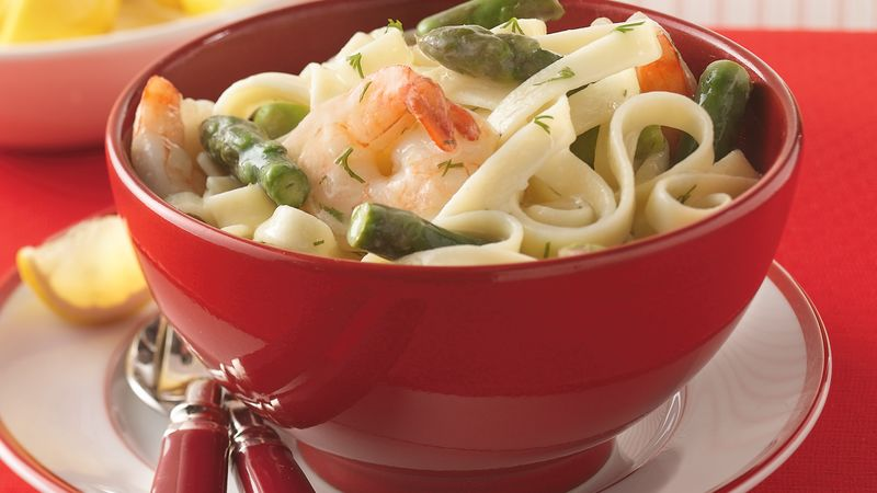 Asparagus, Shrimp and Dill over Fettuccine