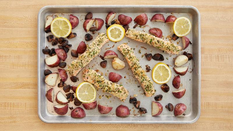One-Pan Roasted Salmon, Potato and Mushroom Dinner
