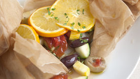 Baked Halibut with Zucchini, Olives, Tomatoes and Oranges