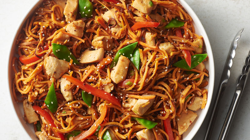 Sweet Potato Noodle-Chicken Lo Mein
