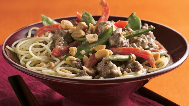 Thai Peanut Beef and Pea Pods Over Noodles