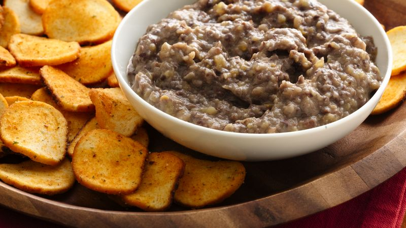 Easy Black Bean Hummus with Baguette Chips