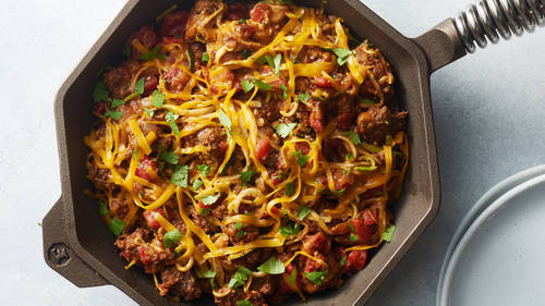 Taco-Zucchini Noodle and Beef Skillet