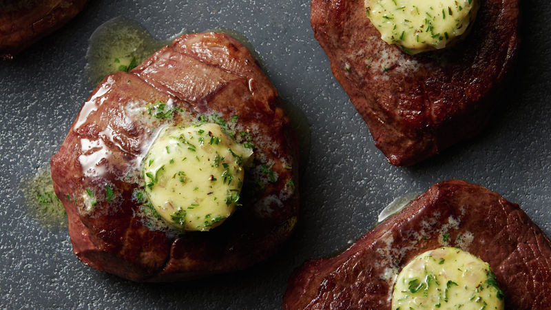 Sous Vide Filets Mignon with Herb and Shallot Compound Butter