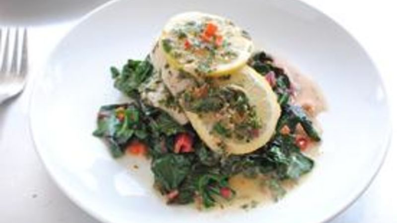 Lemon Butter-Braised Sole with Swiss Chard