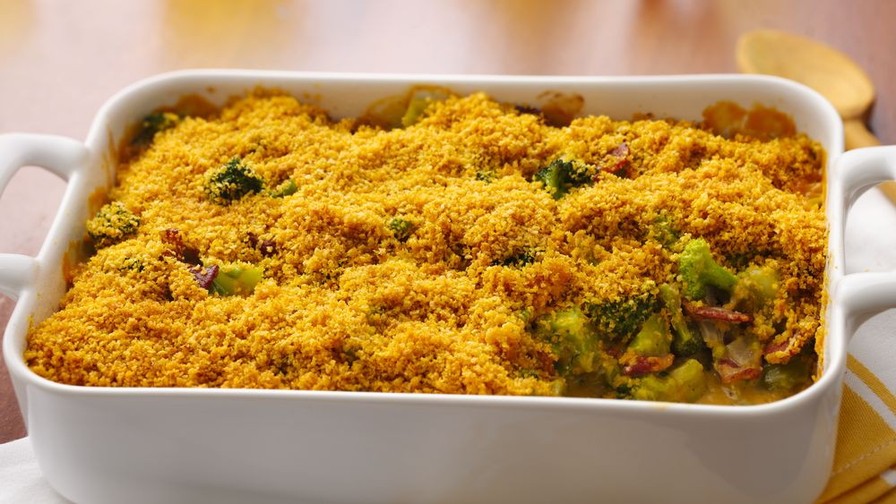 Broccoli-Bacon Casserole with Cheesy Mustard Sauce