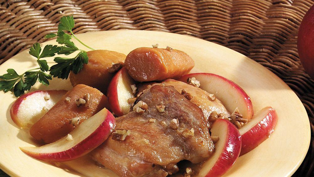 Cider-Glazed Chicken and Sweet Potatoes recipe from Pillsbury.com