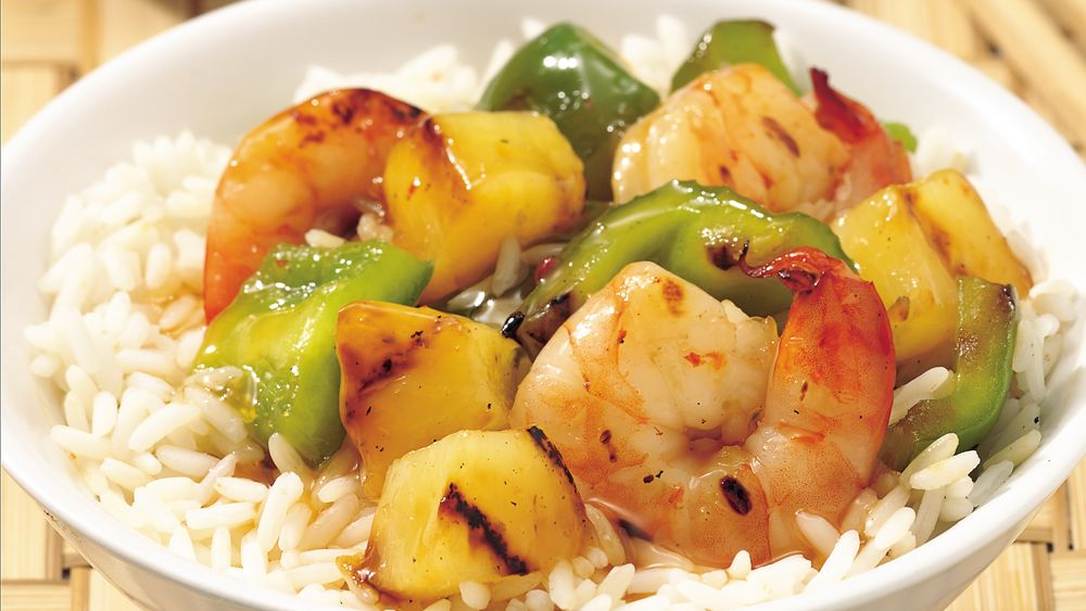 Sweet and Sour Grilled Shrimp over Rice
