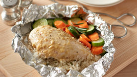 Dijon Chicken, Rice and Garden Vegetable Foil Packs