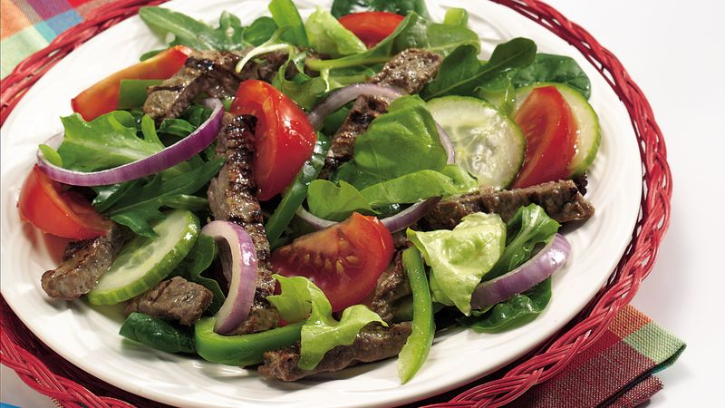 Beef Garden Salad with Tangy Vinaigrette Recipe - Tablespoon.com