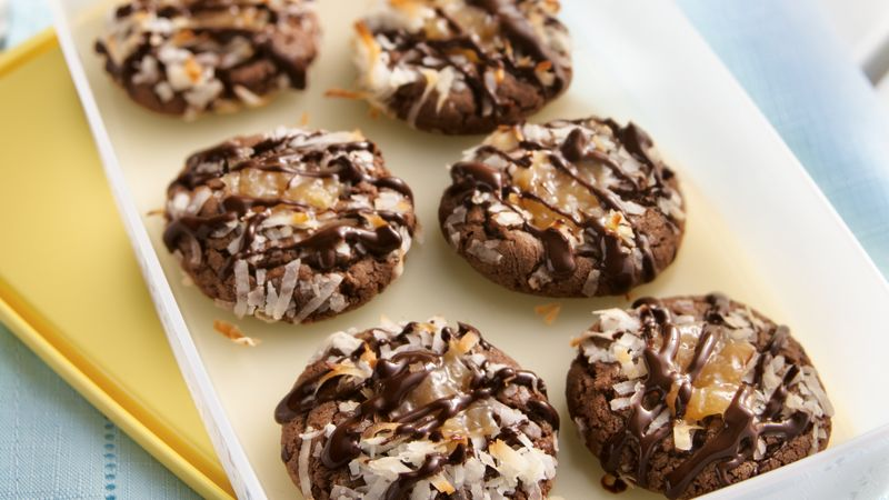 Chocolate-Coconut Thumbprint Cookies