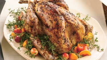 Roast Turkey with Fresh Thyme Rub and Maple Glaze