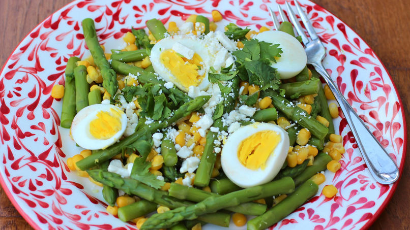 Asparagus Salad with Corn and Queso Fresco