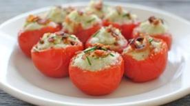 Stuffed Tomatoes with a Cauliflower Puree and Bacon