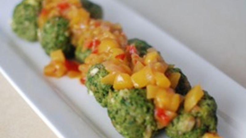 Spicy Green Pork Meatballs with a Mango Chutney