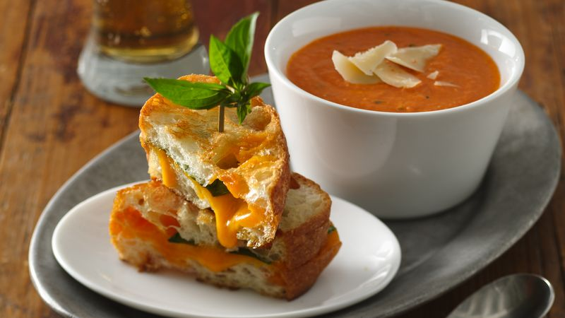 Creamy Tomato Soup With Grilled Cheddar Basil Sandwiches Recipe