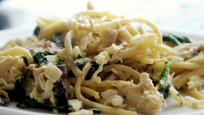 Chicken Spinach And Mushroom Pasta Recipe Bettycrocker Com