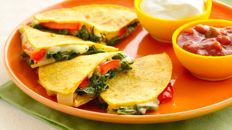 Gluten-Free Kale and Bell Pepper Quesadillas