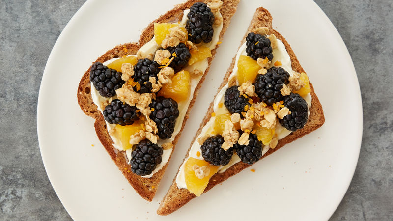 Orange-Blackberry Mascarpone Granola Toast