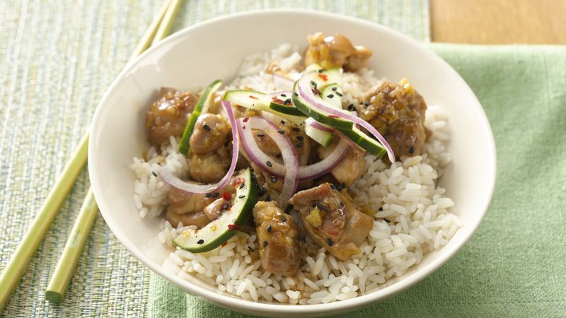 Caramel Chicken with Pickled Cucumber and Onion