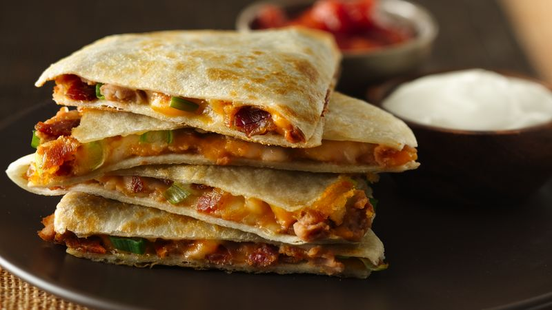 Cheesy Bacon Bean Quesadillas Recipe Bettycrocker Com