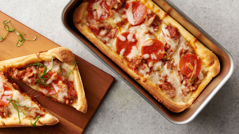 Loaf Pan Deep Dish Pizza Recipe Pillsbury Com