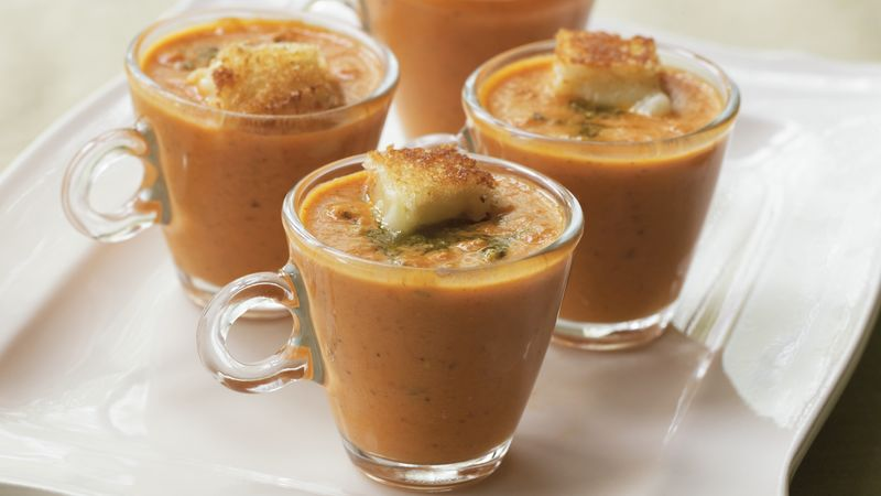 Tomato Soup with Cheese Croutons