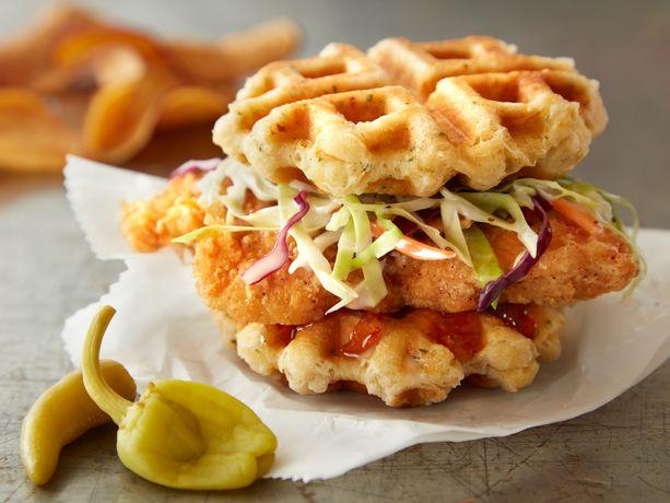 Chicken in a Biscuit Waffle Sandwich
