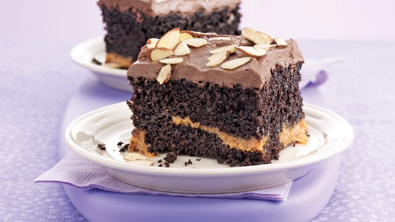 Caramel In Between Fudge Cake Recipe Pillsbury Com
