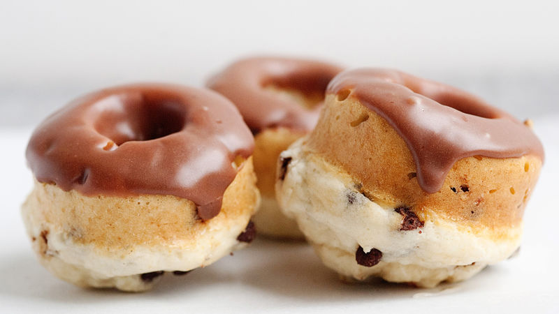 Baked Chocolate Chip Doughnuts with Chocolate Glaze