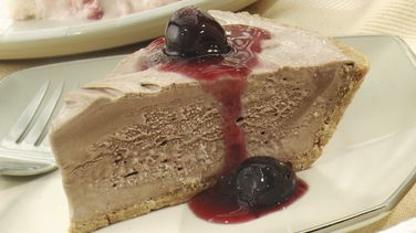 Frozen Chocolate Pie with Cherry Sauce