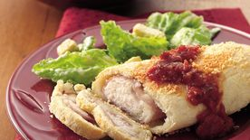 Parmesan Chicken, Provolone and Ham Bundles