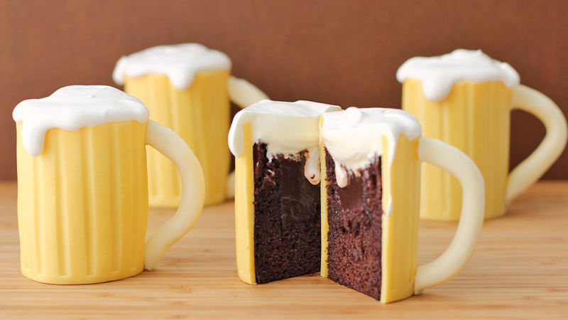 Beer Mug Cupcakes With Baileys Filling Recipe Tablespooncom