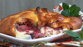 Baked Brie with Berry Rhubarb Compote