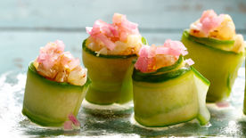 Green Shrimp Ceviche and Cucumber Sushi