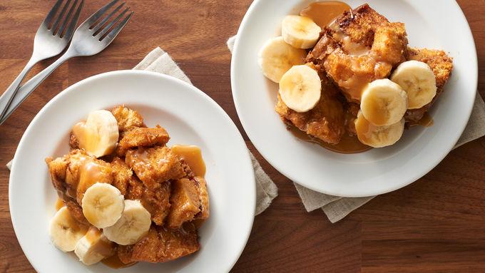 Slow-Cooker Salted Caramel-Banana Cinnamon Roll Casserole