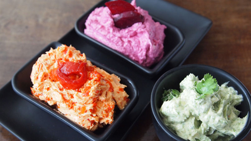 Trio of Butters: Beet, Cilantro and Red Pepper