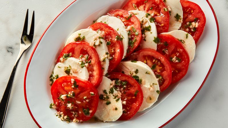 Garlic Basil Tomatoes with Mozzarella