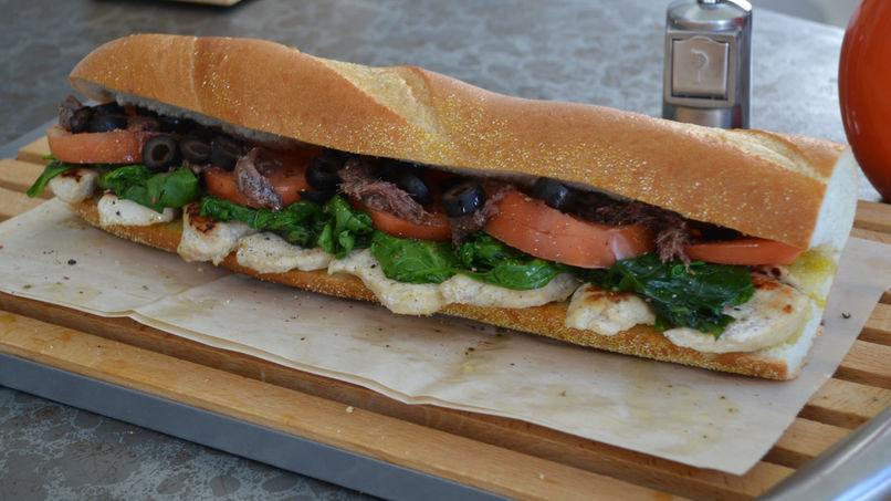 Grilled Chicken and Spinach Baguette