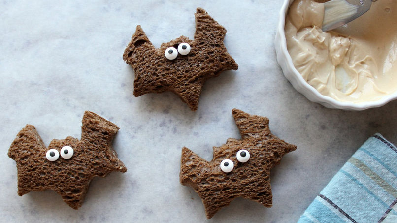 Halloween Bat Sandwiches with Black Bread