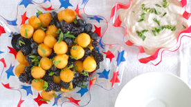 Berry-Cantaloupe Salad with Honey-Vanilla Yogurt Dip
