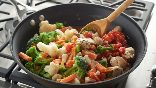 One pot chicken and vegetable skillet recipe pillsbury stir in tomatoes and frozen vegetables cover and cook 15 to 20 minutes or until vegetables are tender and heated through forumfinder Gallery