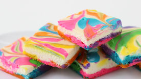 Rainbow Cheesecake Swirl Bars