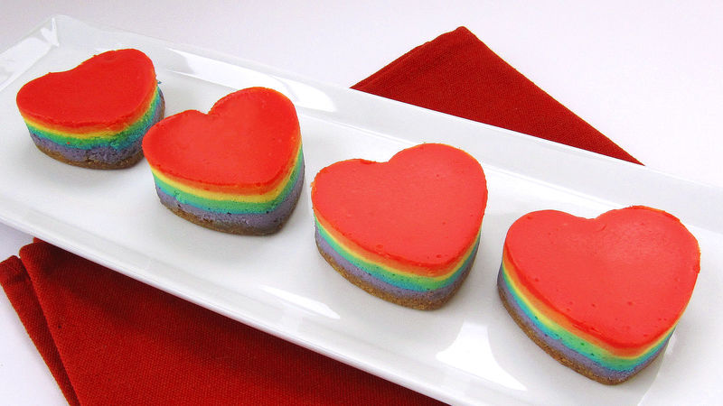 how to make mini rainbow cheesecake