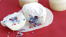 Surprise on the Inside Red, White and Blue Cupcakes