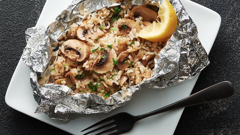 Herbed Mushroom and Rice Foil Packs