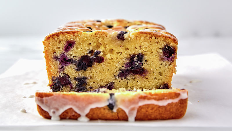 glazed lemon blueberry loaf